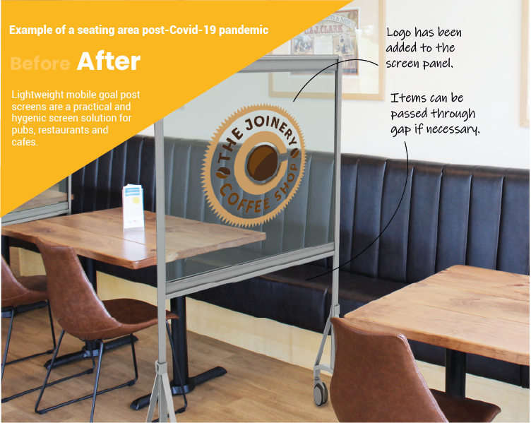 Example of Mobile Screen to separate diners safely