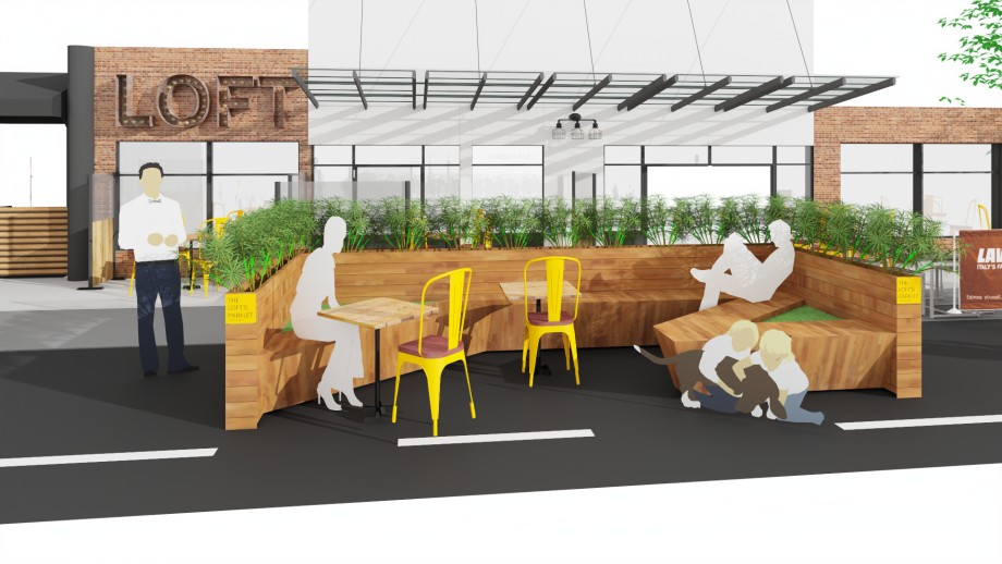 Parklet seating area concept by Cafe Reality