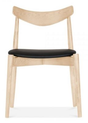 Chepstow Dining Chair Wityh A Natural Frame And Black Seat Front View