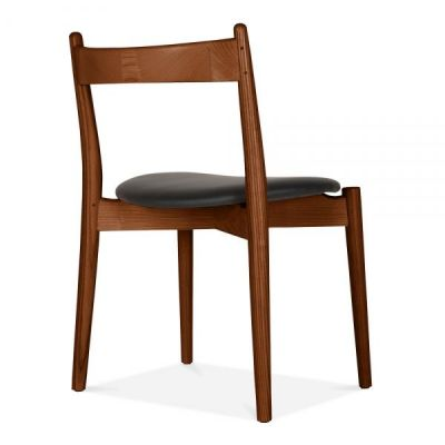 Boston Dining Chair With A Walnut Frame And Black Seat Rera Angle