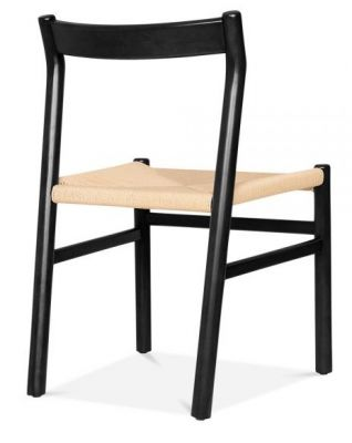 Paco Designer Dining Chair With A Black Frame Rear Angle