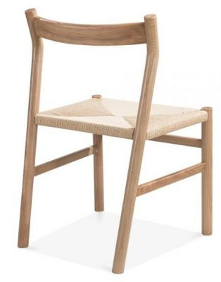 Paco Designer Dining Chair With A Natural Finish Rear Angle View