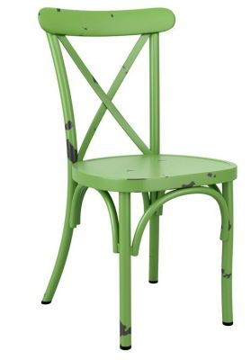 Angelica Vintage Cross Back Chair In Green