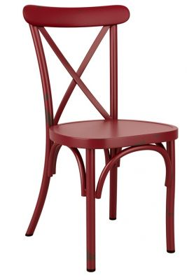 Angelica Vintage Style Aluminium Side Chair In Red