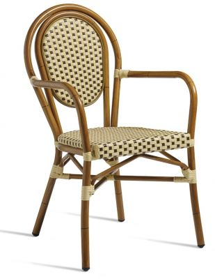 Formosa Continental Style Armchair Brown And Cream Weave