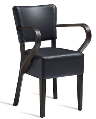 Rosie V3 Black Leather Dining Armchair