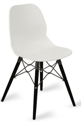 Mylo Chairs White Shell With Black Designer Legs