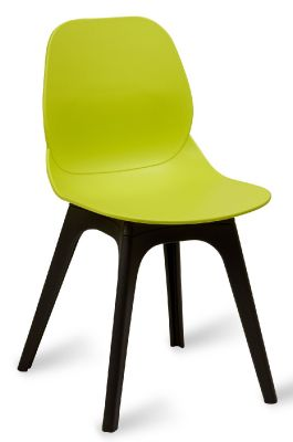 Mylo 14 Side Chair With A Lime Green Shell And Black Legs