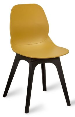 Mylo V14 Side Chair With A Mustard Shell And Black Legs