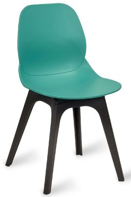 Mylo V14 Chair With A Turquoise Shell And Black Legs