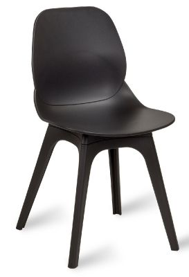 Mylo V14 Designer Chair With A Black Shell And Black Legs