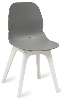 Mylo V15 Chair With A Grey Shell And White Leg Frame