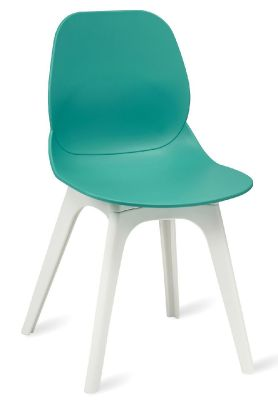 Mylo V15 Chair With A Turquoise Shell And White Legs