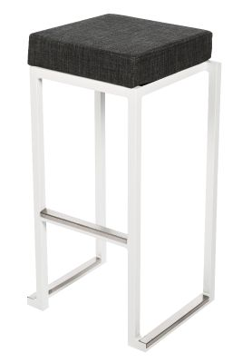 Cubo Stackable Nhigh Stool Black Faux Leather Seat
