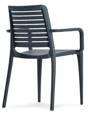 Mika All Weather Plastic Chair In Antharcite Rear Angle View