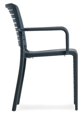 Mika Outdoor Plastic Armchair In Anthracite Side View