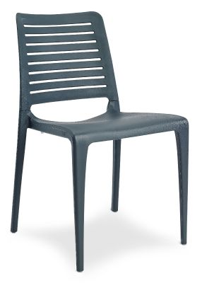 Mika Plastic Side Chair In Anthracite Front Angle
