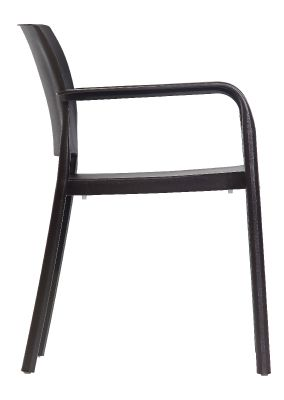 Mazie Outdoor Plastic Chair In Antharcite Side View