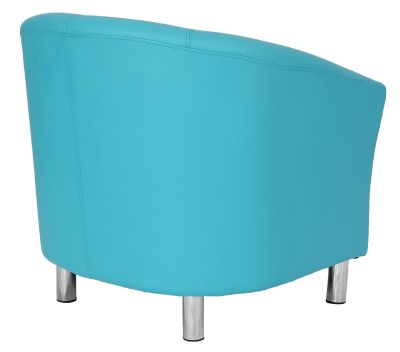 Tritium Light Blue Leather Tub Chairs With Chrome Feet Rear Angle