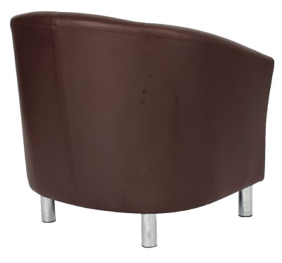 Tritium Brown Leather Tub Chair With Chrome Feet Rear Angle View