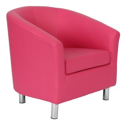 TRitium Pink Leather Tub Chair With Chrome Feet Front Angle