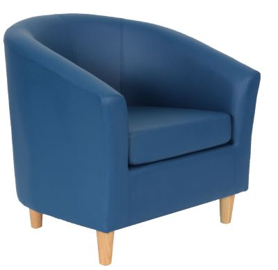 TRitium Navy Blue Tub Chairs With Wooden Feet Front Angle View