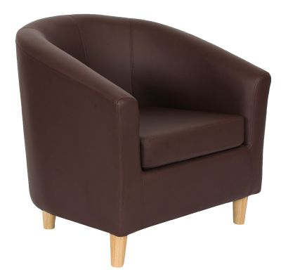 Tritium Tub Chair In Brown Front Angle View