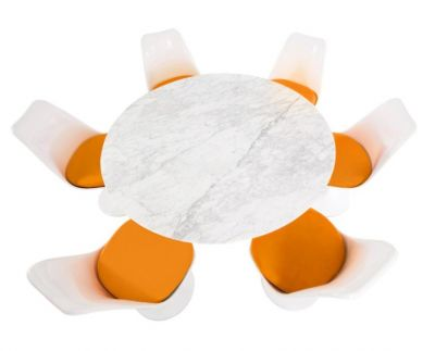 Orange Cushion Colour Seating Marble Dining