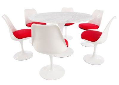 Red Colour Seating Dining Marble Top Round