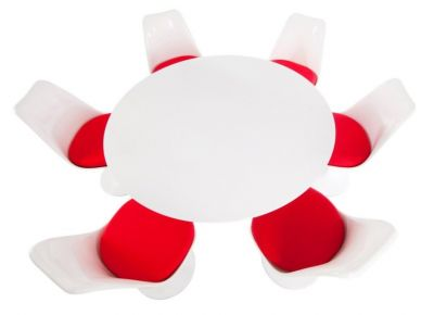 Designer Dining Set Six Red Vibrant Cushions