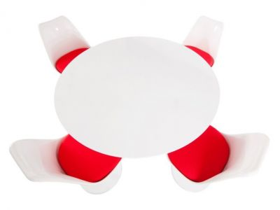 Red Bright Colour Dining Set Chairs Table