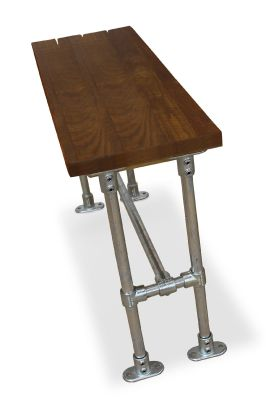 Scaffold Bar Height Bench With A Sawnj Timjber Top