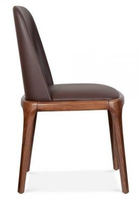 Ash Legs Plywood Brown Leather Dining Chair