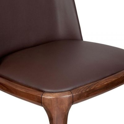 Brown Leather Dining Chair Walnut Frame