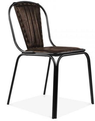Art Deco Designer Leather Brown Chair