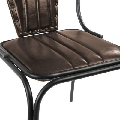 Leather Brown Dining Chair Steel