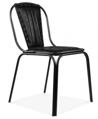 Studded Designer Black Leather Dining Chair