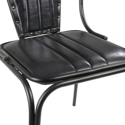 Angelo Black Leather Dining Chair