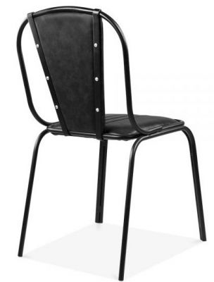 Art Bdeco Designer Black Leather Dining Chair