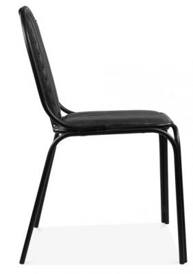 Vertical Stitching Designer Black Leather Dining Chair