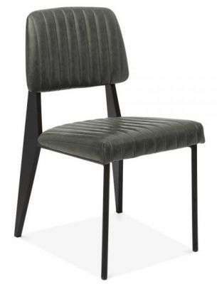 Black Leather Designer Dining Chair