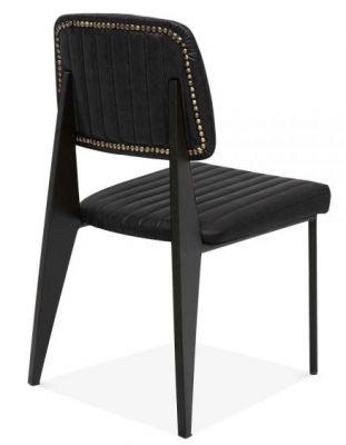 Designer Black Leather Studded Dining Chair