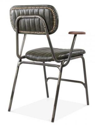 Stud Designer Leather Dining Chair Black