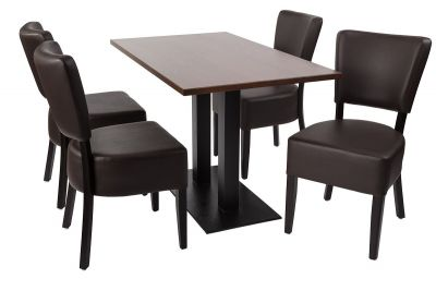 Rosie V4 Dining Set 1 Chairs In Chesnut Leather