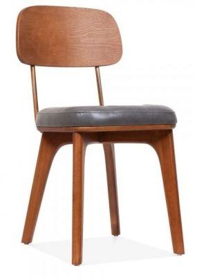 Grey Leather Deat Dining Chair Gold