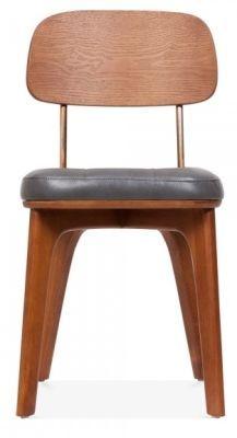 Grey Leather Cushion Dining Chair Art Deco