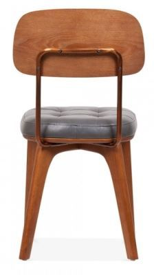 Grey Leather Vintage Dining Chair Gold Frame