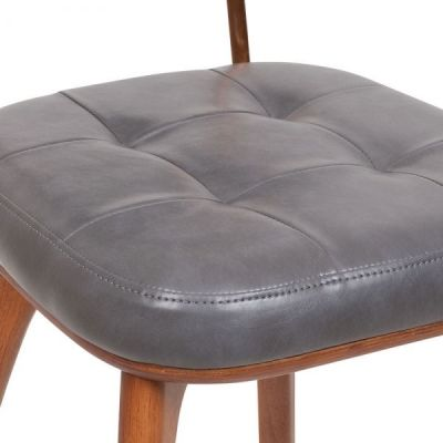 Grey Leather Dining Chair Vintage Style