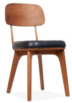 Leather Designer Dining Side Chair Black Faux Leather