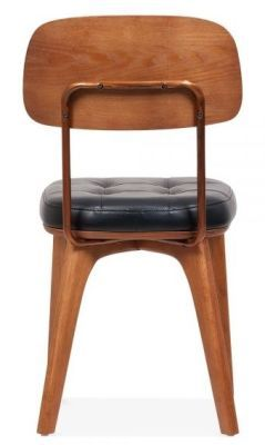 Black Faux Leather Designer Walnut Dining Chair